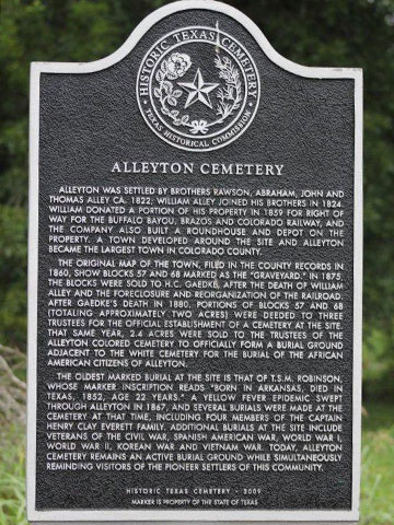 Historic Texas Cemetery marker